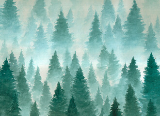 Spoed Fotobehang Aquarel Natuur Hand drawn watercolor illustration. Landscape of cloudy, mystic , coniferous forest on ye mountaind. Cloud, fog, trees, cold, winter
