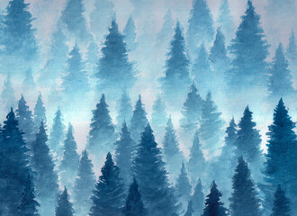 Hand drawn watercolor illustration. Landscape of cloudy, mystic , coniferous forest on ye mountaind. Cloud, fog, trees, cold, winter