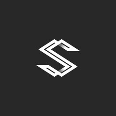 Capital letter S logo monogram. Intersection white angular lines overlapping strips shape SS initials. Typography business card emblem design element mockup.