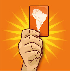 Hand zeigt eine Karte von Südamerika