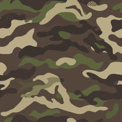 Camouflage pattern background seamless vector illustration. Classic clothing style masking repeat print. Green brown black olive colors forest texture