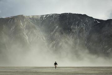 Person in dust storm, Kluane