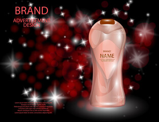 Glamorous Hair Care Products Packages on the sparkling effects background. Mock-up 3D Realistic Vector illustration