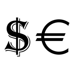 Currency. Dollar and euro symbols
