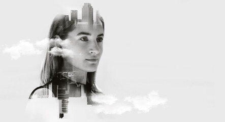 Double exposure concept with business woman, Portrait of attractive woman looking on future, Space for your business message