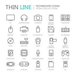 Collection of technology thin line icons