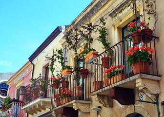 Characteristic balconies in Taormina Sicily Italy