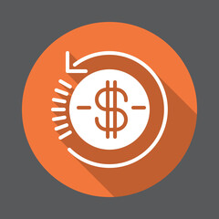 Refund flat icon. Round colorful button, circular vector sign with long shadow effect. Flat style design