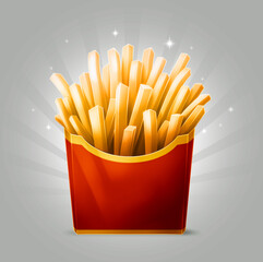 Tasty cartoon french fries in red box with stripe