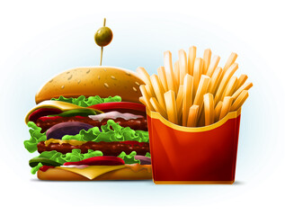 Cartoon double big burger with french fries in red box