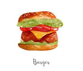Burger illustration. Hand drawn watercolor on white background