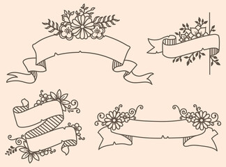 Vector illustration of a collection of floral ribbons. A set of beautiful wreath with flowers and branches for wedding invitations and birthday cards