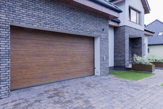 Wooden garage door of detached house