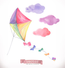 Kite. Watercolor vector illustration