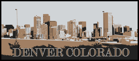 Mile High City Denver Colorado Downtown Skyline Graphic