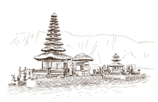 Hand drawn sketch of Bali Temple in vector illustration.