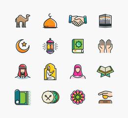Set of Islamic Icons, Ramadan Kareem, Eid Mubarak Line Art Icons Set