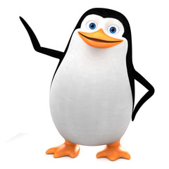 Cheerful penguin points to an empty spot. 3d render illustration.