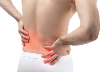 Concept of orthopedist. Man suffering from pain in back on white background