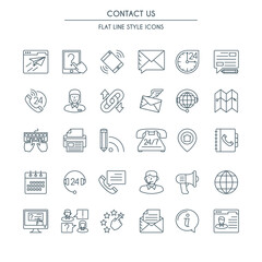 Contact us icons thin line set. Modern icons on theme customer service and support.
