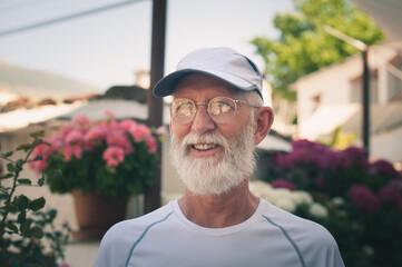 Smiling Man Looking Away In Garden