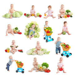 Healthy food concept. Collage of cute babies with vegetables on white background