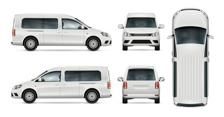White car vector template for car branding and advertising. Isolated wagon set. All layers and groups well organized for easy editing and recolor. View from side, front, back, top.
