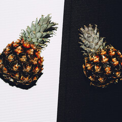 Pineapples White black minimal art