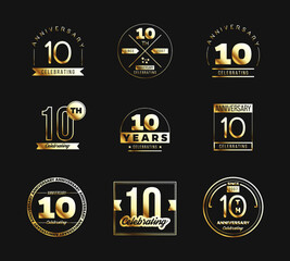 10th anniversary logo set with gold elements. Vector illustration.