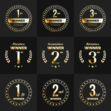 1st, 2nd, 3rd place gold colored logo's. Vector illustration.