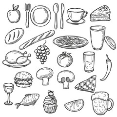Hand drawn food doodles, line art simple sketches isolated on white background. Food clip-art. Vector illustration