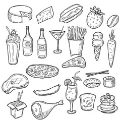Hand drawn food doodles, line art simple sketches isolated on white background. Food clip-art. Vector illustration.