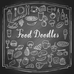 Hand drawn food doodles, line art simple sketches isolated on vintage black chalkboard background. Food clip-art. Vector illustration.