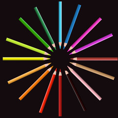 Color pencil on circle position with black background