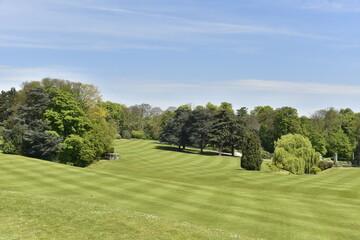 La pelouse principale de l'immense Parc Royale de Laeken à Bruxelles