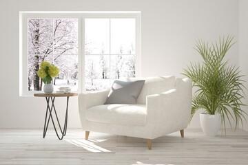 White modern room with armchair. Scandinavian interior design. 3D illustration