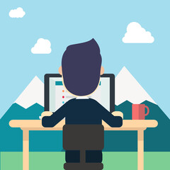 Businessman in back wear suite work around nature with tab work screen on computer,laptop and red cup on table vector illustration man work in nature,mountains,clouds and sky.Concept work to relax.