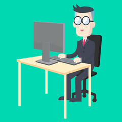 Business man working at desk with computer and keyboard