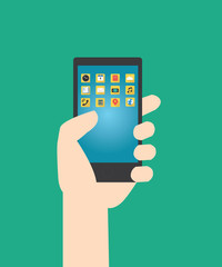Hands hold smartphone with multimedia application and green background