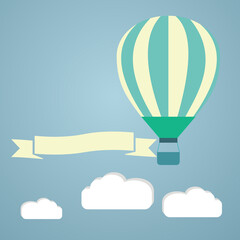 hot air balloon in the sky vector illustration. greeting card