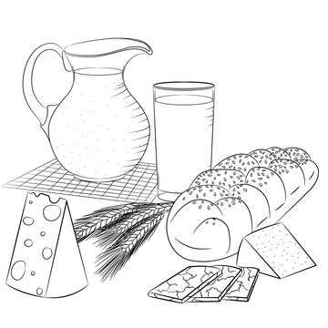 Vector line art illustration with food. Still life with dairy products and bread. Illustration for menu, cookbook or coloring book. Sketch isolated on white background