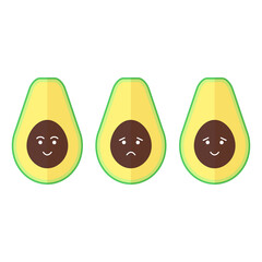 Vector avocado emoji set in flat style isolated on the white background. Sad and happy.