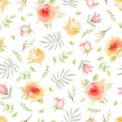 Seamless pattern with flowers. Watercolor hand drawn