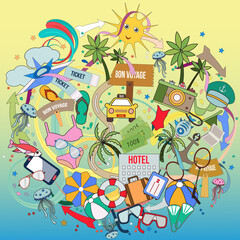 Cartoon cute doodles hand drawn Vacation and travel illustration. Colorful detailed, with lots of objects background. Funny vector artwork.