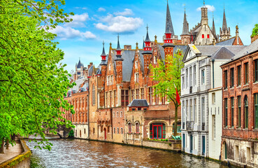 Medieval town Bruges in Belgium. Panorama and landscape vintage