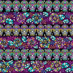 Seamless pattern, traditional elements. Colorful skulls with flowers and leaves. Boho strip