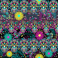 Seamless pattern, traditional elements. Colorful skulls with flowers and Butterflies