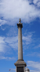 Photo of iconic Nelson's column in Trafalgar square on a spring morning, London, United Kingdom