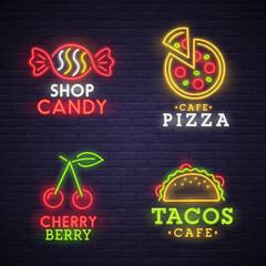 Set neon sign. bright signboard, light banner. Neon logo, emblem. Food neon