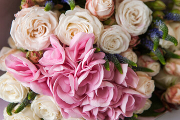 Hortensia and rose pink flowers closeup background. Floristry catalogue, nature, florist work, gift backdrop concept